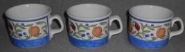 Set (3) Dansk FIANCE FRUITS PATTERN Handled Cups BLUE TRIM - $29.69
