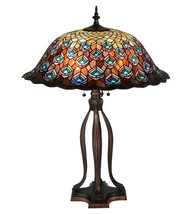 Tiffany Style Peacock Feather Table Lamp w Stained Glass Lamp Shade - $1,514.70