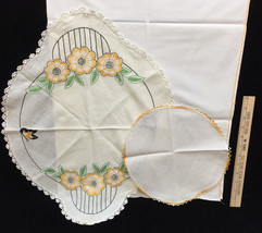 Flour Sack Kitchen Towel Doilies Embroidered Crocheted Floral Vintage Lot of 3 - $9.89