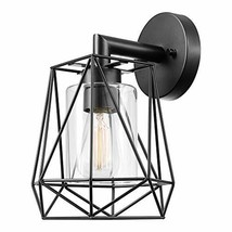 Globe Electric 44300 Sansa 1-Light Outdoor/Indoor Wall Sconce, Black, Clear Glas