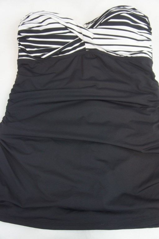 Anne Cole One Piece Sz 16W Black White Multi Swimsuit Ruched Swimdress 15PD602