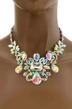 Elegante Braut Abend Halskette und Ohrring Set Polarlicht & Klare Kristalle - $28.73