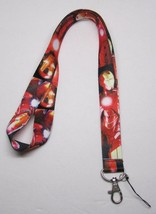 Red IRONMAN Iron Man LANYARD KEY CHAIN Ring Keychain ID Holder NEW - $12.99