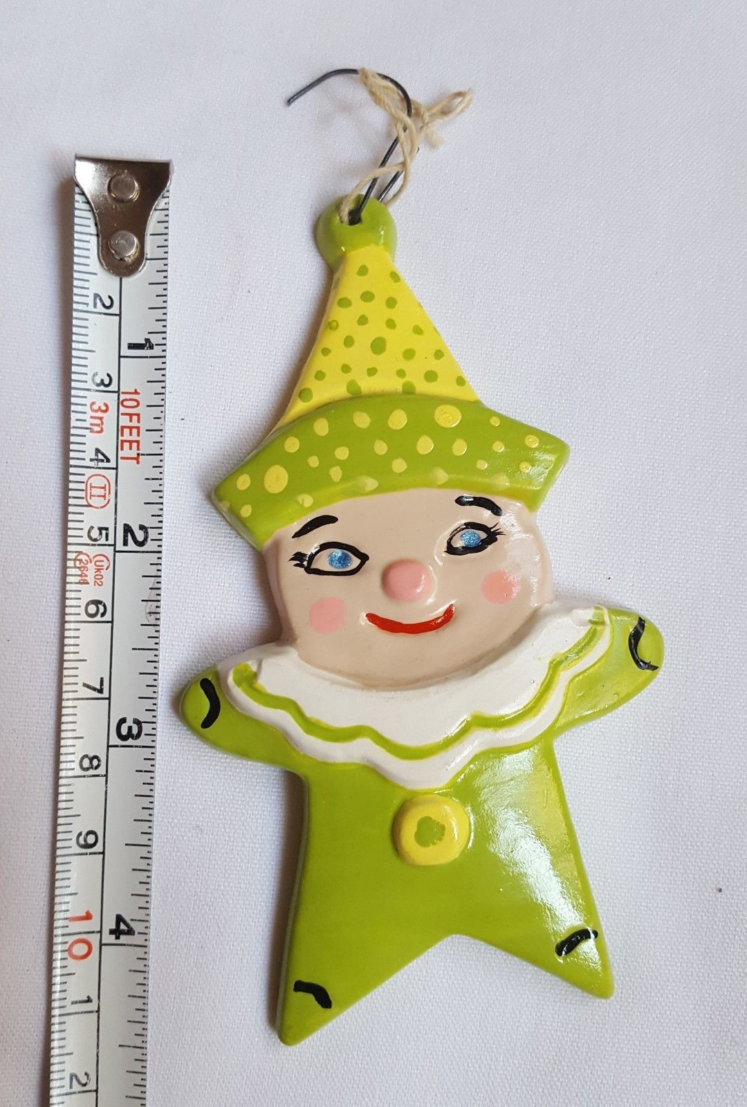 Primary image for Ceramic Bisque Clown Ornament Christmas Xmas tree holiday season decoration