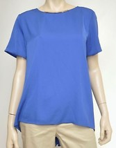 Michael Kors Womens Blue Neon Turquoise Short Sleeve High Low Tunic Top Blouse - $22.99