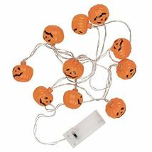 TRIXES 1 x String with 10 Pumpkin LED Lights - Battery Operated Hallowee... - $11.49