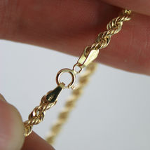 18K YELLOW GOLD CHAIN NECKLACE 3.5 MM BRAID BIG ROPE LINK 15.75, MADE IN ITALY image 4