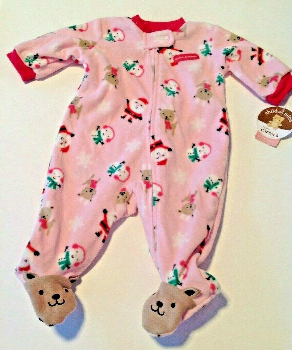 Baby Girl Size 3 Month Fleece Footed 1st Christmas Monkey Sleeper NWT Carter/'s