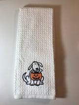 New! Cute Halloween Dish/Hand Towels-100% Cotton/White/Black Dog/Orange ... - $3.95