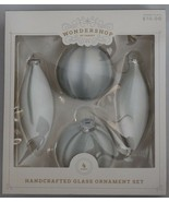 Wondershop at Target Handcrafted 3 count Glass Ornament Set White Gray - $10.00