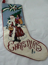 "Needlepoint stocking Santa Claus Christmas velvet back 19"" Very Nice - $23.75"