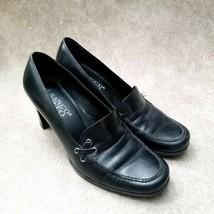 Franco Sarto Womens 85514 Sz 6 M Black Leather Slip On Loafer Dress Heels - $26.99