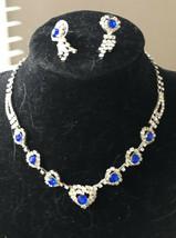 Modern Estate Crystal & Blue Rhinestone Necklace & Earring Set Demi Parure  - $24.52