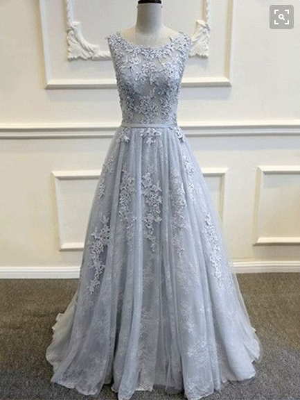 Gray Evening Dress,Lace Applique Prom Dress,prom dress,long prom dresses