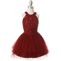 Burgundy Halter Neck Sequin Embroidery Lace Tiered Tulle Mini Flower Gir... - $58.00+