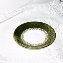 VINTAGE AYNSLEY FINE ENGLISH BONE CHINA SAUCER 2539 GREEN BAND GOLD LEAVES GILT image 2