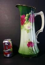 Antique Tirschenreuth Porcelain Bavaria Germany Pink Roses Pitcher Ewer ... - $125.00
