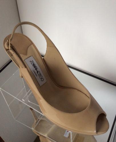 NEW JIMMY CHOO Patent Leather Peep-Toe Platform Sandals (Size 41) - MSRP $695.00