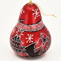 Handcrafted Carved Gourd Art Red Santa Claus Christmas Ornament Made in Peru image 3
