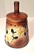 Vtg McCoy Pottery Butter Churn '30s Ceramic Cookie Jar Flowers Brown Gla... - $38.96