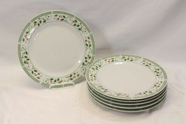 """Gibson Everyday Holly Xmas Dinner Plates 10.5"""" Set of 6 - $48.99"""
