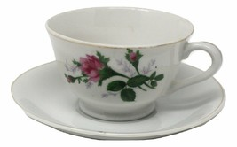 Moss Rose Bud Footed Bone China Tea Cup and Saucer w Gold Trim Vintage - $43.44