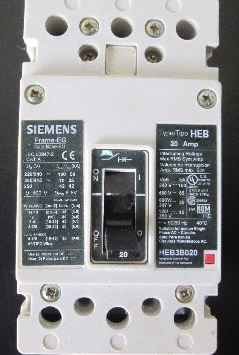 HEB3B020, Siemens, Circuit Breaker, 20 Amp, and 50 similar items