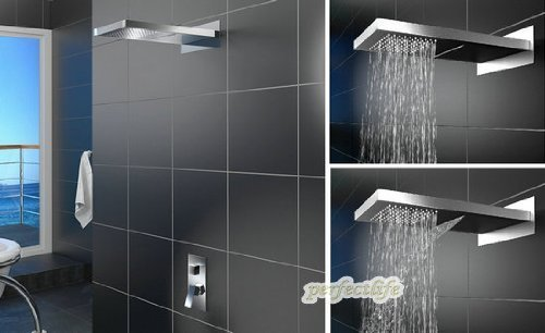 Primary image for Luxury 22-inch Shower Head Wall Mount Rainfall Bathroom Double-function Shower F
