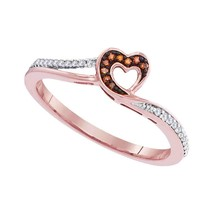 10k Rose Gold Round Red Color Enhanced Diamond Heart Love Fashion Ring 1... - $161.00