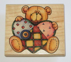 "Ted E Bear Rubber Stamp Teddy Quilted Heart 3.75"" Long Smiling Heart But... - $8.41"