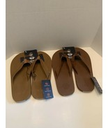 Men's DOCKERS Premium Flip Flop Sandals Shoes Faux leather Tan Brown Blue  - $19.95