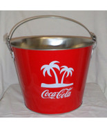 New Coca Cola Ice Bucket Metal New with Palm Trees and Handle Barbados C... - $28.03