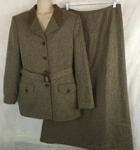 Le Suit Brown Skirt Suit Size 10 Belted Jacket Blazer Long A Skirt Wool ... - $34.60