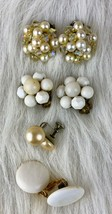Vintage White Imitation Pearls Beaded Clip On Earrings Lot Of 4 - $6.26