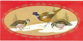 Vintage Christmas Card Birds Partridge Pheasant Mid Century Rust Craft - $8.90