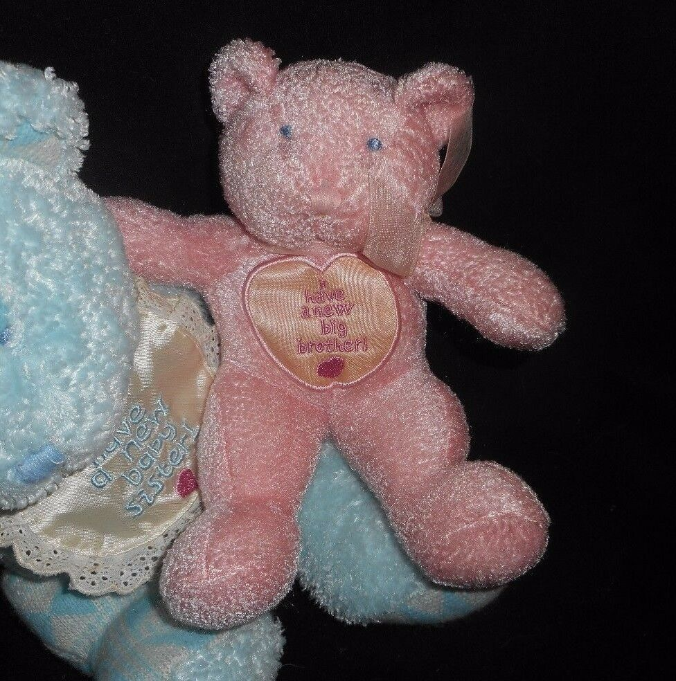 2000 ENESCO BLUE BROTHER PINK SISTER TEDDY BEAR RATTLE STUFFED ANIMAL PLUSH TOY image 4