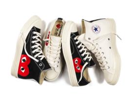 Comme Des Garcons Play Chuck Taylor Converse Hi Low Tops White Black Shoes  - $74.98