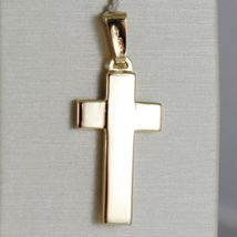 SOLID 18K YELLOW GOLD CROSS FINELY WORKED DOUBLE, SQUARED, SMOOTH, MADE IN ITALY image 3