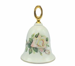 Danbury Mint porcelain bell figurine American rose collection Pascali fl... - $19.16
