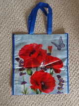 Flowered and Butterfly Designed Blue & Red Tote Bag (#3620) - $6.99