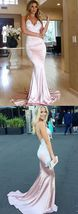 Mermaid Spaghetti Straps Backless Long Pink Prom Dress with Appliques - $159.00+