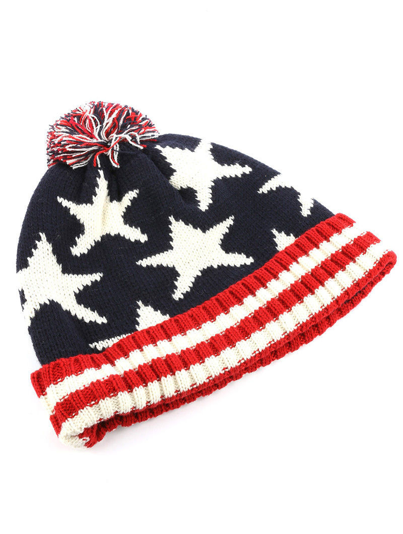 Stars & Stripes American Flag Print Pom Knit Beanie Cap Winter Hat