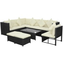 vidaXL Garden Sofa Set 29 piece Wicker Poly Rattan Black Outdoor Lounge ... - $629.99