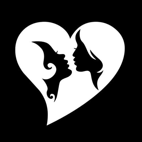 DECAL-STYLE - 11cmx10.5cm Lesbian Gay Love Heart Fashion Car Sticker Vinyl Black