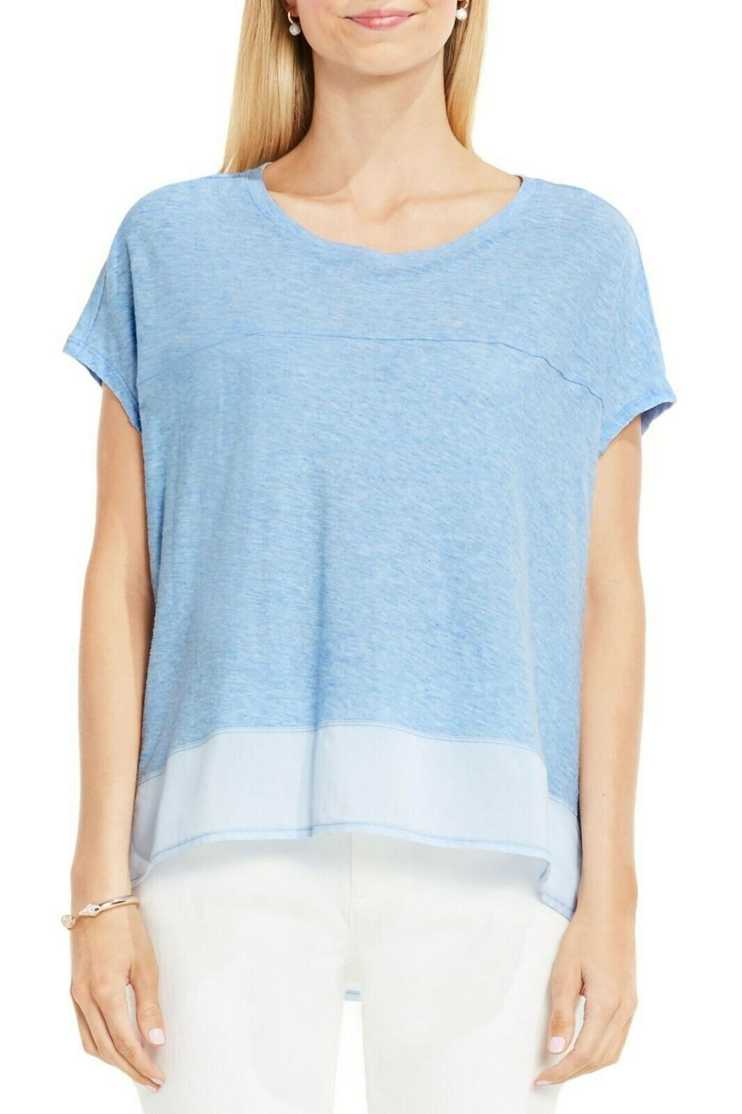 Two By Vince Camuto Women's Mixed-Media Step Hem Top Chambray Heather $59 Size L