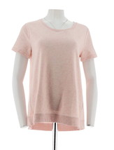 H Halston French Terry Short Slv Top Hi-Low Hem Hthr Pure Pink M NEW A29... - $25.72