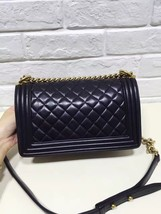 AUTHENTIC CHANEL 2017 Black Lambskin Quilted Medium Boy Flap Bag GHW image 3