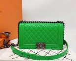 SALE*** Authentic Chanel Boy Medium Patent Green Flap Bag with RECEIPT