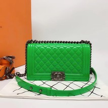 SALE*** Authentic Chanel Boy Medium Patent Green Flap Bag with RECEIPT  image 1
