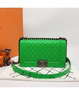 SALE*** Authentic Chanel Boy Medium Patent Green Flap Bag with RECEIPT  - $3,399.99